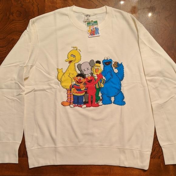 2c3334c0dff Uniqlo Sweaters | Kaws X Sesame Street Family Sweatshirt Off White ...